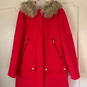 J. Crew chateau parka red